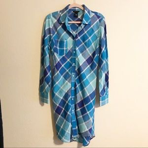 Moda International Linen Plaid Shirt Dress